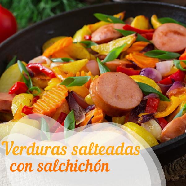 Verduras salteadas con salchichón Don Pollo